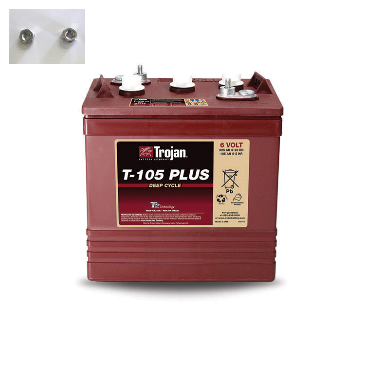 TROJAN DEEP CYCLE T-105PLUS 6V 225AH FLOODED BATTERY