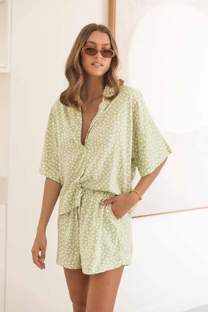 Marnie Sleep Set - Reverse Dot Sage Green