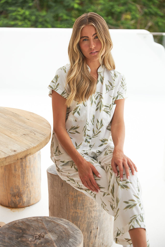 Maggie Pyjama Set - Long Pants - Olive Leaf