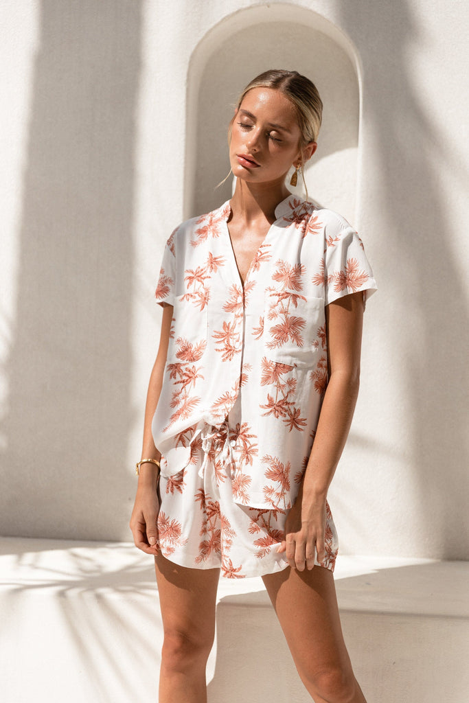 Maggie Pyjama Set - Vintage Palm - Sunset