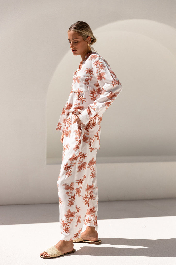 Maggie Pyjama Set - Long - Vintage Palm Sunset