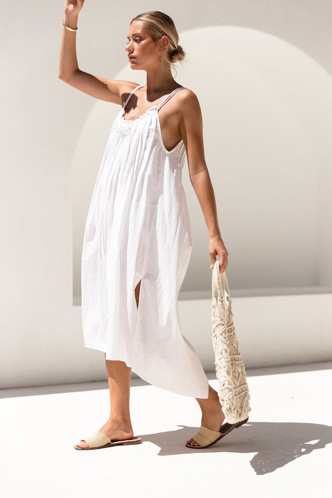 Mona Dress - White Cotton Prima
