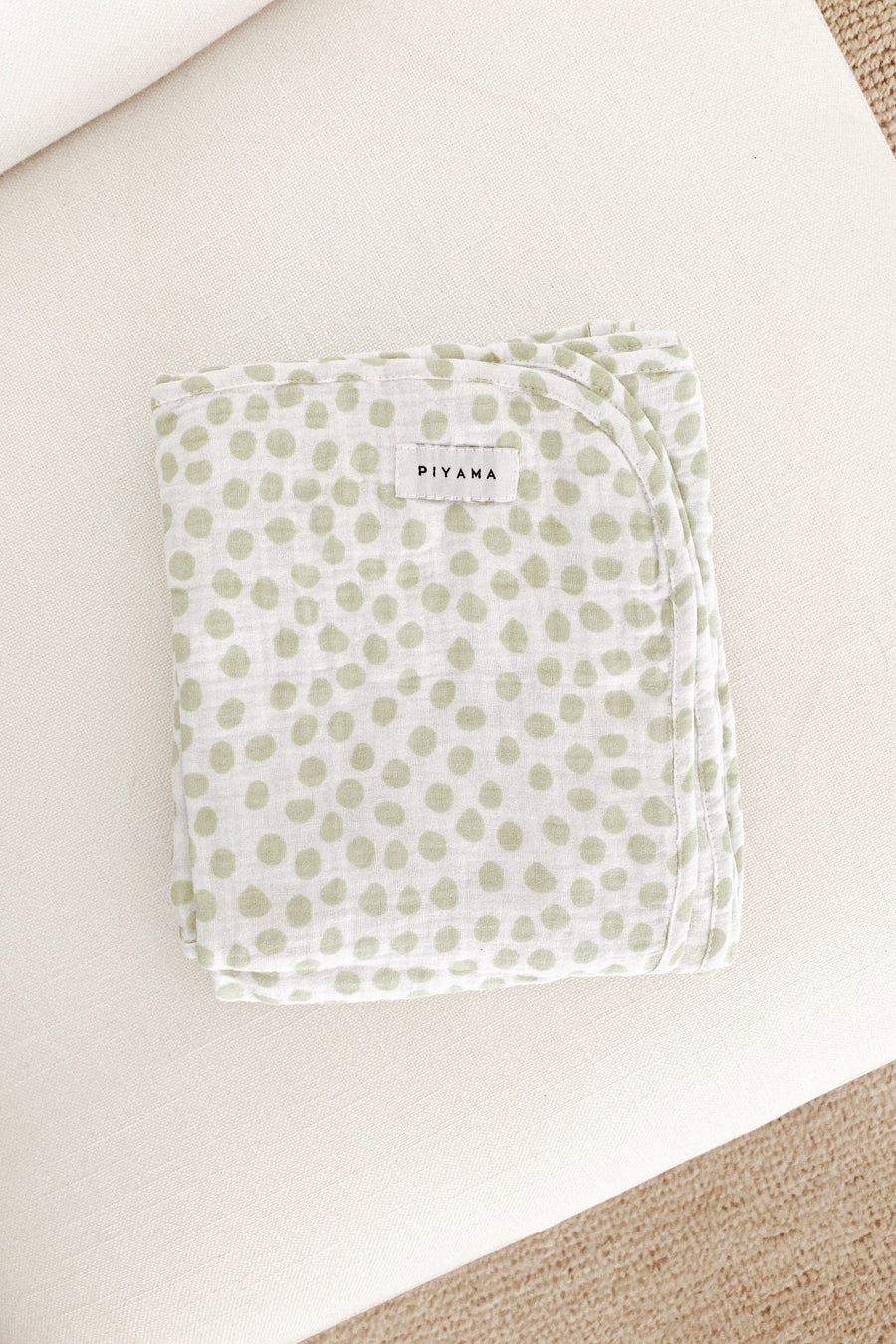 Baby Swaddle Blanket - Cotton Bubble - Dot Sage Green