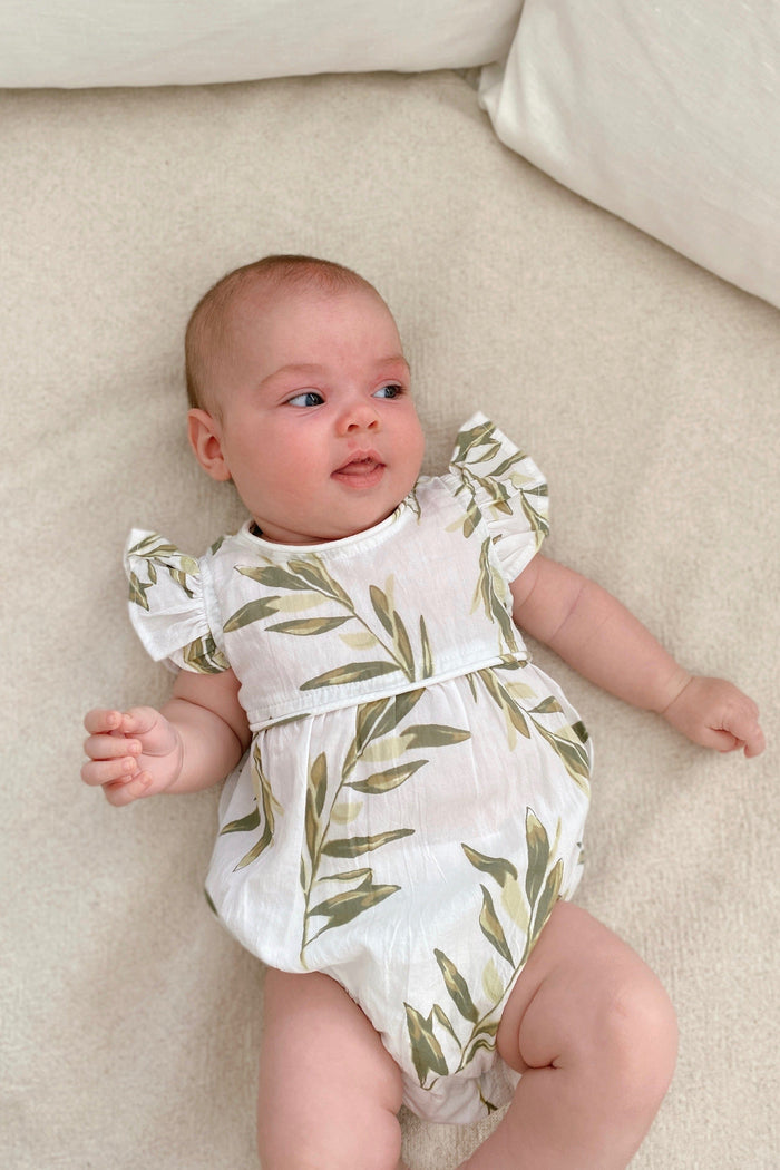 Baby Girls Romper - Washed Cotton - Olive Leaf