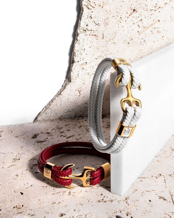 Modern Anchor on Red Leather Bracelet, Polished Gold