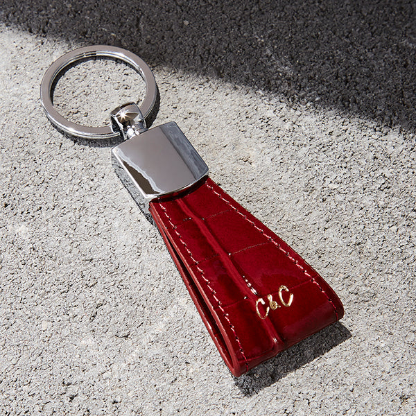 Red  Crocodile Embossed Key Holder