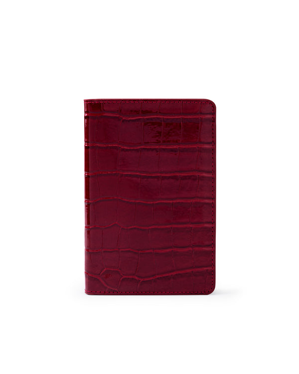Red Crocodile Embossed Passport Holder