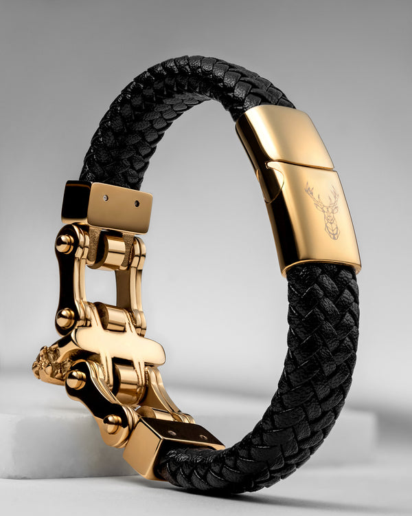 Charles & Co  Italian Leather Gold Bracelet + (Free Anchor Bracelet $40  VALUE)