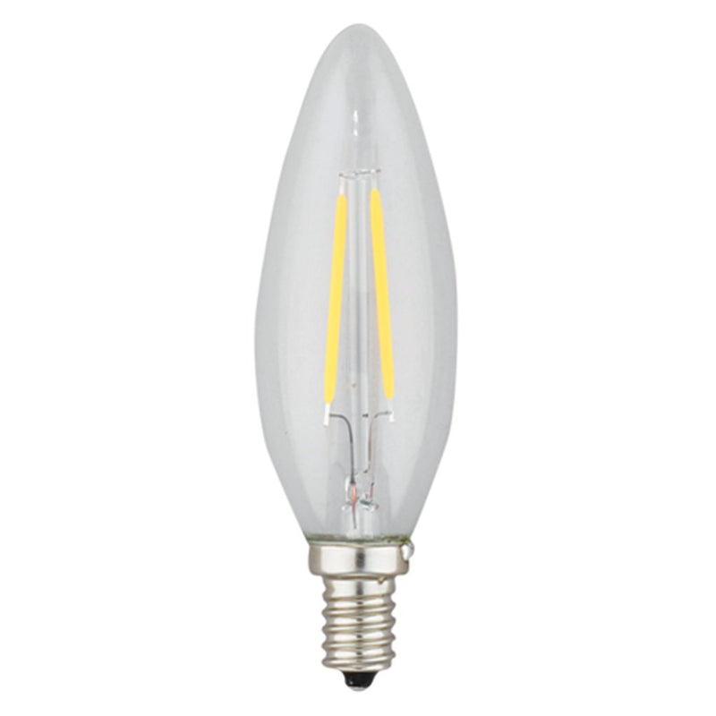 2 Watt Filament LED Torpedo Candelabra Bulb - E12 Base - 2700K - 25W Equivalent
