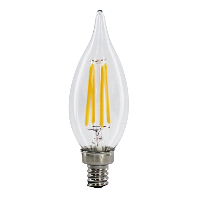 4 Watt Filament LED Candelabra Bulb - E12 Base - Flame Tip - 2200K - 40W Equivalent