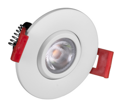 DGD2-1-120-2K-RD-WH, 2 Inch LED Gimbal Downlight, 366 Lumens, 2700K