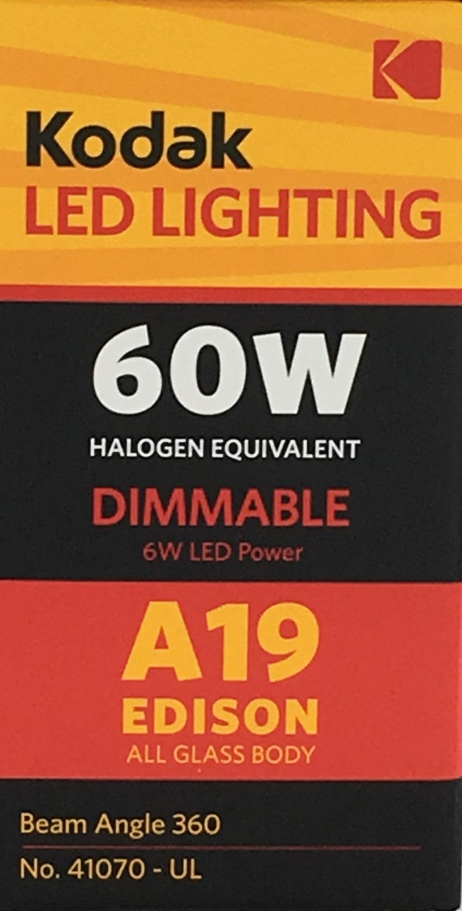 41070, 6 Watt Vintage Filament A19 LED Bulb, 2700K, 60W Equivalent