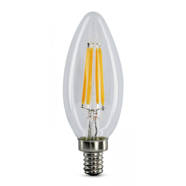 4 Watt Filament LED Torpedo Candelabra Bulb - E12 Base - 2700K - 40W Equivalent - 41063