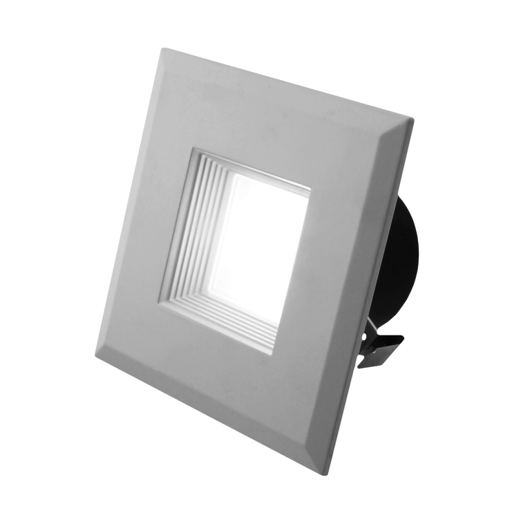 "3"" Square LED Downlight, DQR3-10-120-2K-WH-BF, 480 Lumens, 2700K"