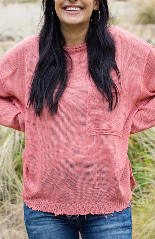 GOOD TIME CORAL DISTRESSED SWEATER - ShopLawson
