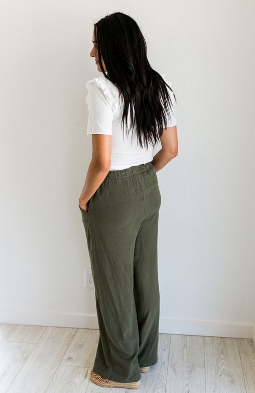 SOME NIGHTS OLIVE LINEN PANTS - ShopLawson