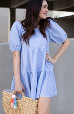 SWEETIE PIE PUFF SLEEVE BLUE TIERED DRESS