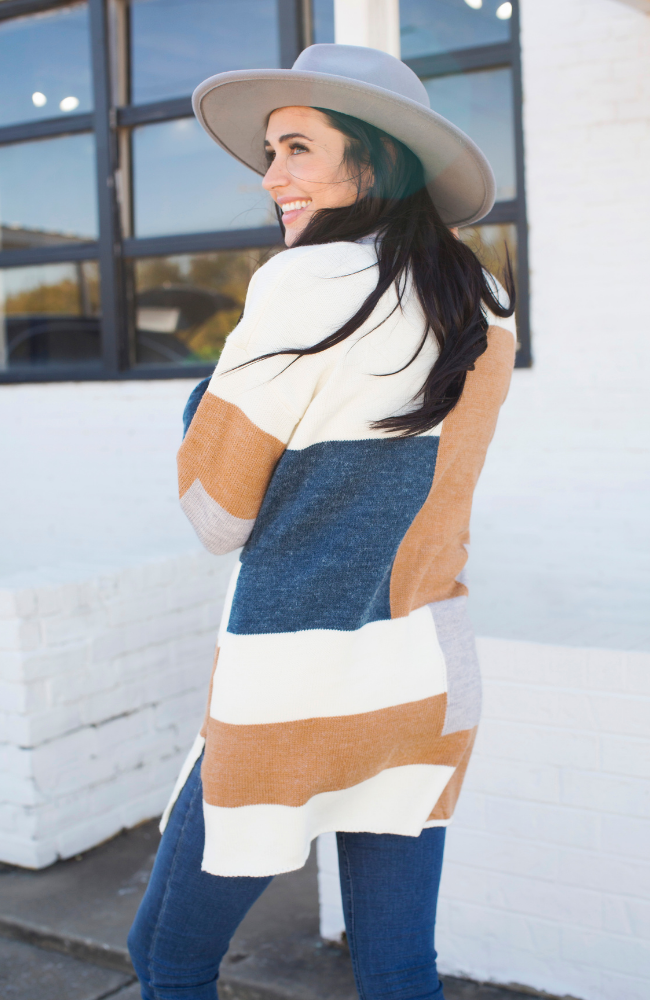 BLOCKED OUT COLOR BLOCKED SWEATER CARDIGAN - ShopLawson