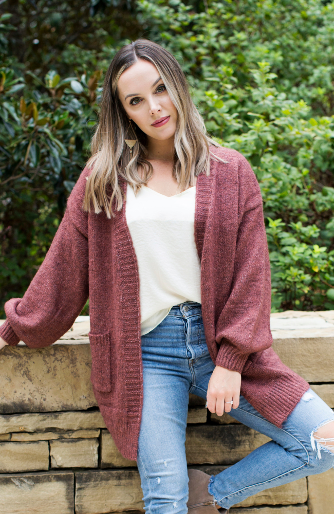HEART STRING BRICK OPEN FRONT CARDIGAN - ShopLawson