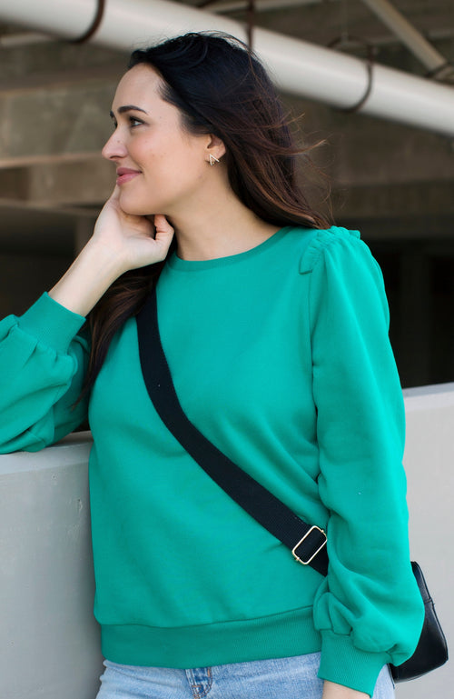 GREEN WITH ENVY RUFFLE SWEATSHIRT