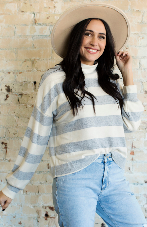 CHILLER GREY IVORY STRIPED MOCK-NECK SWEATER - ShopLawson