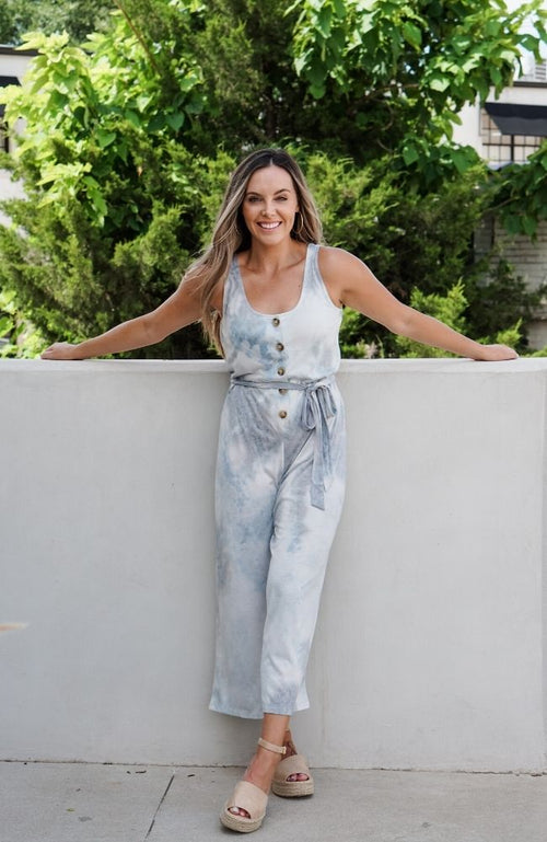 IN THE CLOUDS BLUE TIE-DYE JUMPSUIT - ShopLawson