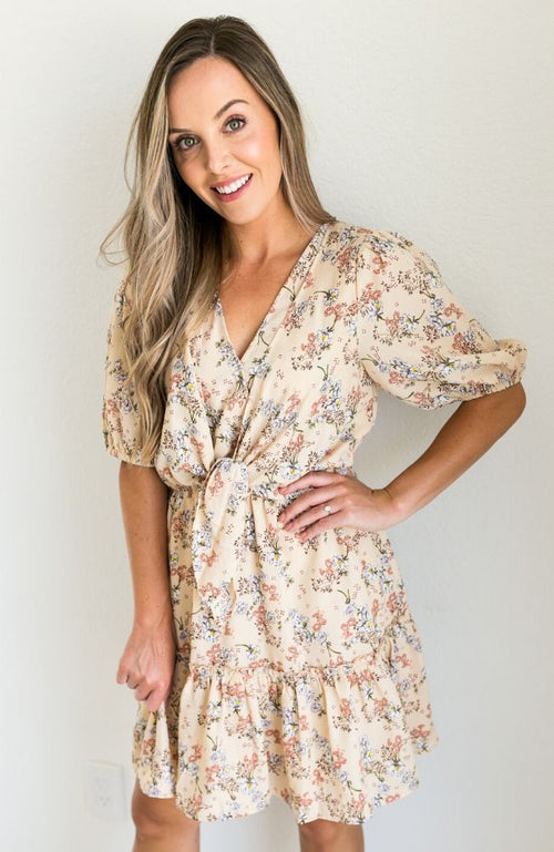 ONE LOVE FLORAL TIE RUFFLE DRESS - ShopLawson