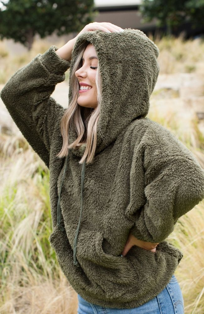 TUNDRA OLIVE GREEN FAUX FLEECE HOODIE - ShopLawson