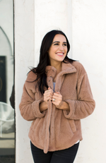HOMETOWN CAMEL BUTTON-DOWN SHERPA JACKET - ShopLawson
