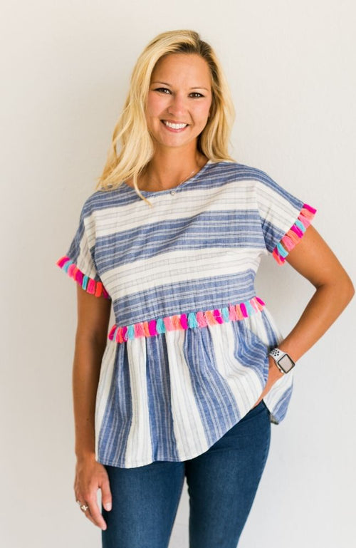 MOROCCAN SUNSET STRIPED TASSLE TOP - ShopLawson