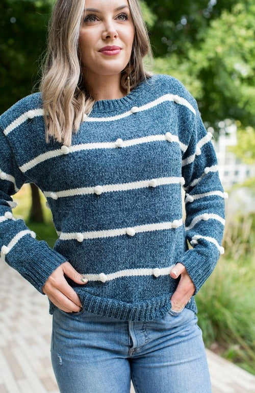 GABY GREEN STRIPED POMPOM SWEATER - ShopLawson