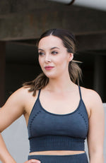 MINERAL-WASHED FADED BLACK RIBBED SPORTS BRA