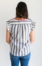 TWILIGHT TANGO STRIPED EMBROIDERED TOP - ShopLawson
