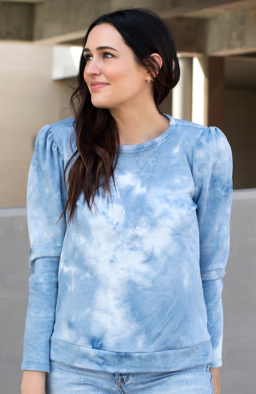 BELIEVER BLUE TIE-DYE PUFF SLEEVE SWEATER - ShopLawson