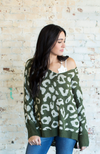 UPTOWN GIRL GREEN LEOPARD OVERSIZED SWEATER - ShopLawson