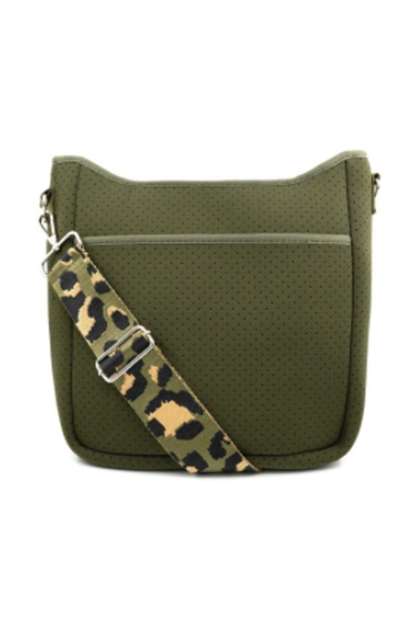 GREEN NEOPRENE CROSS-BODY BAG WITH LEOPARD STRAP