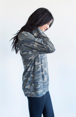 CAPTIVATED CAMO BUTTON SWEATSHIRT TOP - ShopLawson
