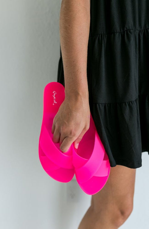 IN LINE HOT PINK PVC SANDAL - ShopLawson