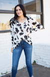 LEOPARD GAUZE V NECK TOP - ShopLawson