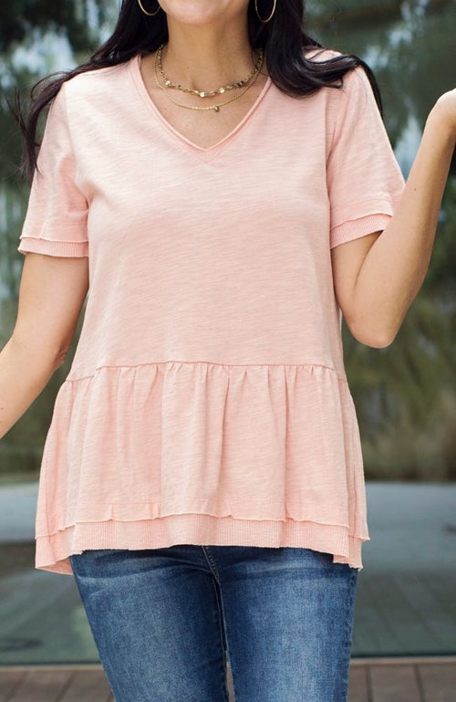 CANYON ROSE BLUSH PEPLUM TOP - ShopLawson