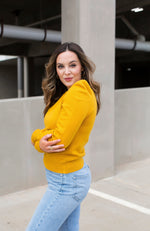 BRANCH OUT YELLOW PUFF SLEEVE SWEATER - ShopLawson