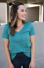 BULLSEYE TEAL V NECK POCKET TEE