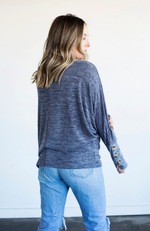 BABY BLUES BUTTON SLEEVE DOLMAN TOP - ShopLawson