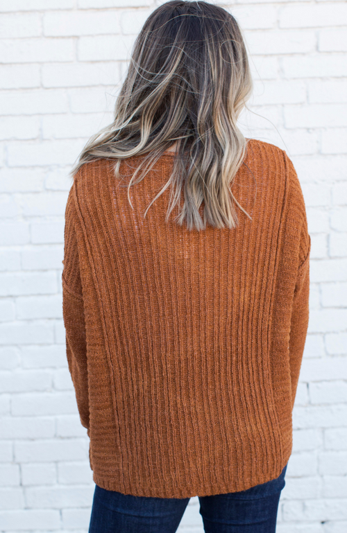 ASPEN CAMEL RIBBED V-NECK SWEATER - ShopLawson
