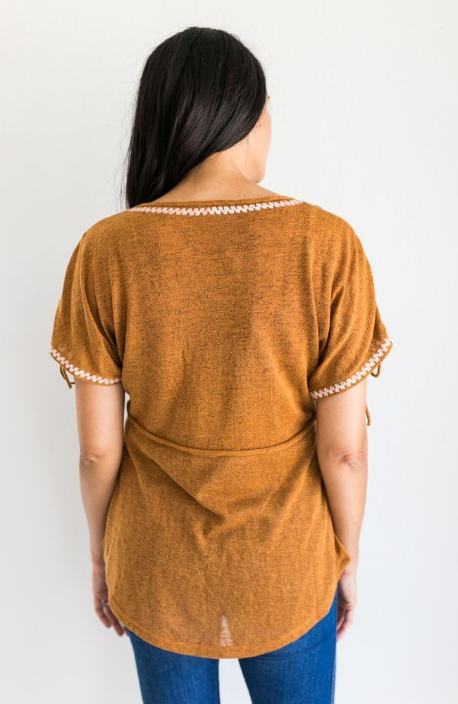 HIGHER LOVE MUSTARD EMBROIDERED TOP - ShopLawson