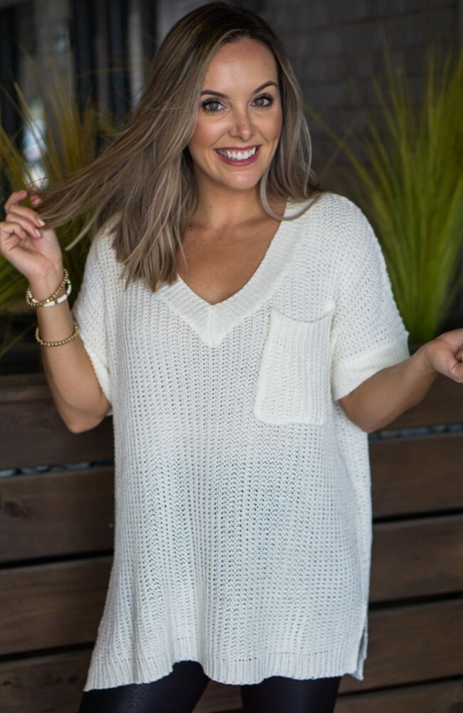 FORGET ME NOT IVORY V-NECK SWEATER - ShopLawson