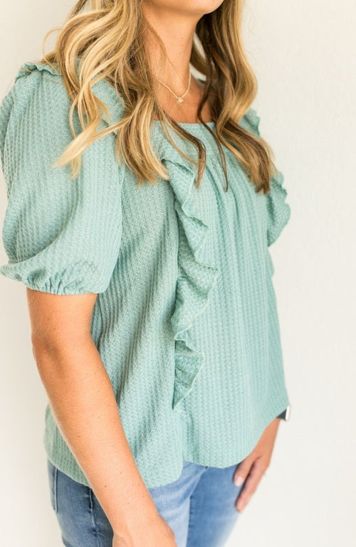 LAST ONE - LARGE SPRINGING STEP GREEN WAFFLE KNIT RUFFLE TOP - ShopLawson