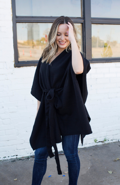 IN THE DARK BLACK PONCHO TIE CARDIGAN - ShopLawson
