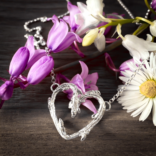 Silver Oak Twig Heart Necklace