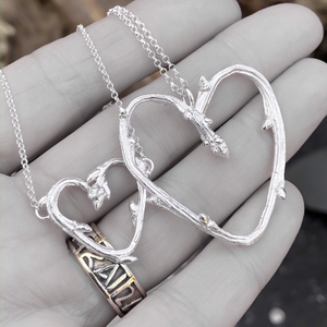 Sterling Silver Oak Twig Heart Pendant